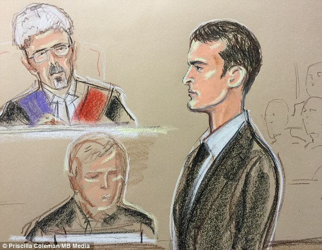 Bức ký họa Adam Johnson tại phiên sơ thẩm