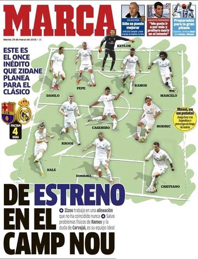 Real Madrid chưa từng sử dụng đội hình gồm 11 cầu thủ như trên trong các trận El Clasico trước đây.