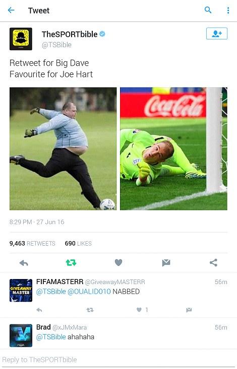 Ngay cả một người to béo như Big Dave cũng có thể chọc thủng lưới Joe Hart