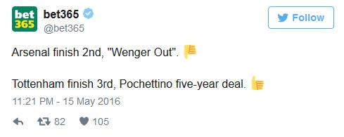 Arsenal xếp thứ 2, Đuổi Wenger đi Tottenham xếp thứ 3, Pochettino được ký hợp đồng 5 năm
