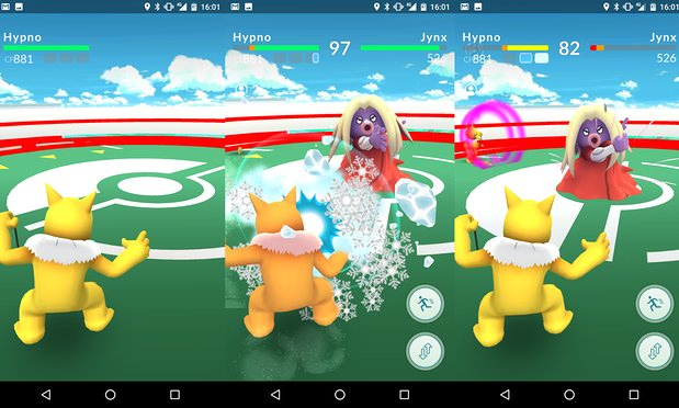 Mỗi Pokémon có thể sử dụng hai chiêu thức để tấn công trong khi thi đấu tại Gym (Ảnh: The Guardian)