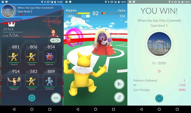 Người chơi có thể chọn tới 6 Pokémon tham gia thi đấu tại các Gym địch (Ảnh: The Guardian)