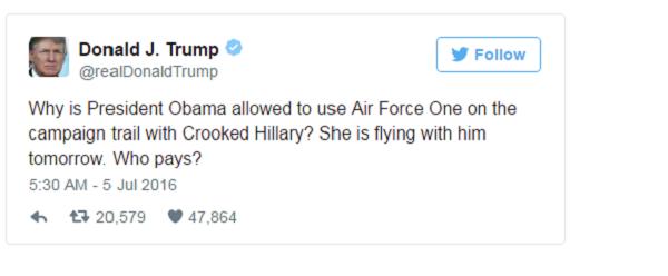 Ứng viên Donald Trump chỉ trích bà Hillary Clinton về việc đi nhờ trên chiếc Không lực 1