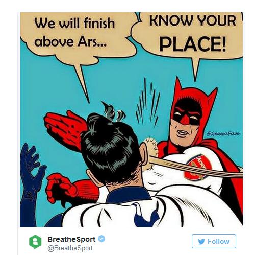 - Tottenham: Chúng tôi sẽ xếp trên Ars... - Arsenal: Tỉnh ngay!