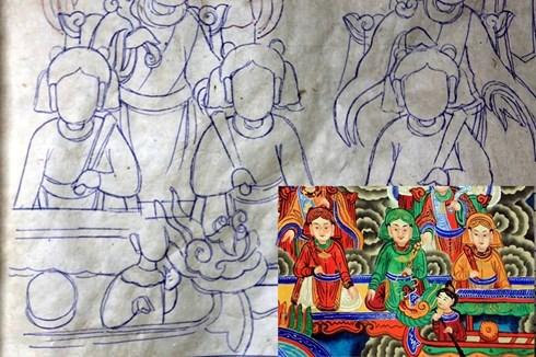 Tranh Hàng Trống thường in hoặc can nét đen lên giấy dó rồi tiến hành bồi tranh. Sau đó sử dụng bút lông vẽ , vờn bằng phẩm màu. Vẽ được tranh đòi hỏi phải giỏi kỹ thuật công bút và tỉa . Tranh vẽ tay là chính không như các dòng tranh dân gian khác chủ yếu là in từ ván in. Ảnh: Lê Bích