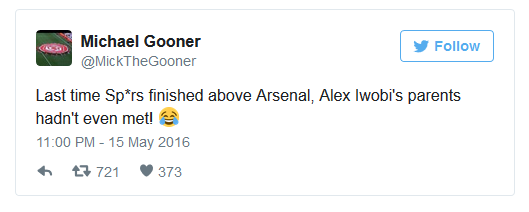 Lần cuối Spurs xếp trên Arsenal, bố mẹ Alex Iwobi còn chưa gặp nhau...
