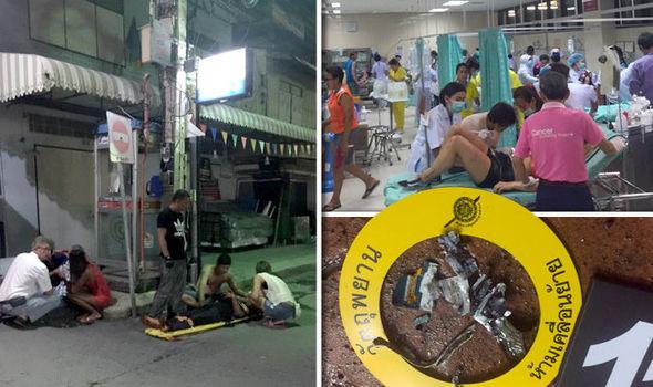 Hình ảnh các nạn nhân được cấp cứu do bị thương trong vụ nổ bom kép tại Hua Hin. Các nạn nhân đã được đưa vào một bệnh viện địa phương.