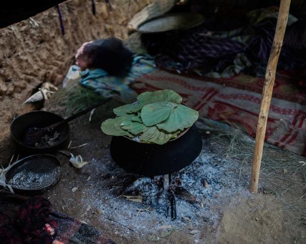 Thức ăn chủ yếu của người Raute là thịt khỉ săn được trên rừng.