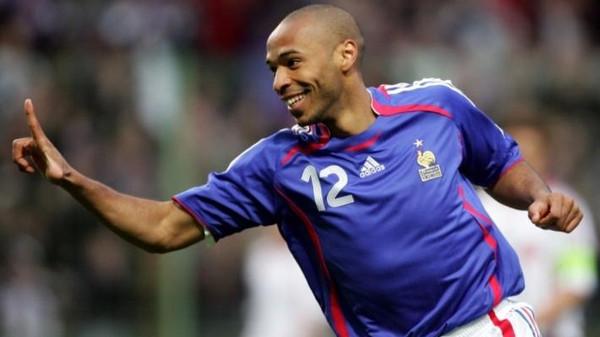 6 - Thierry Henry. Trong 3 kỳ Euro tham dự (2000, 2004, 2008), Henry đã ra sân tổng cộng 11 lần, ghi được cho ĐTQG Pháp 6 bàn thắng.