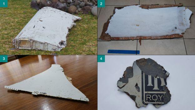 4 mảnh vỡ đầu tiên được cho là thuộc về chiếc máy bay mất tích MH370 (Ảnh: BBC)