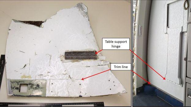 Mảnh vỡ giống với mặt trong cánh cửa của máy bay MH370 (Ảnh: BBC)