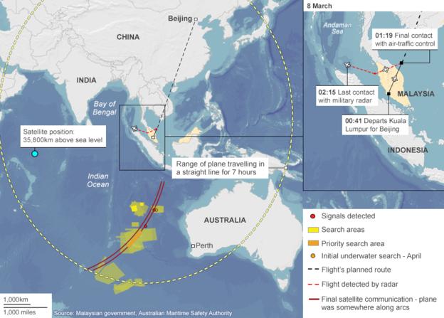 Khu vực tìm kiếm chiếc máy bay bị mất tích MH370 (Ảnh: BBC)