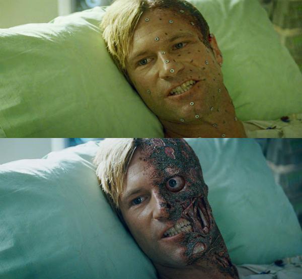 Gương mặt gây choáng của nhân vật trong The Dark Knight cũng đã được tạo dựng nhờ sức mạnh của kỹ xảo.