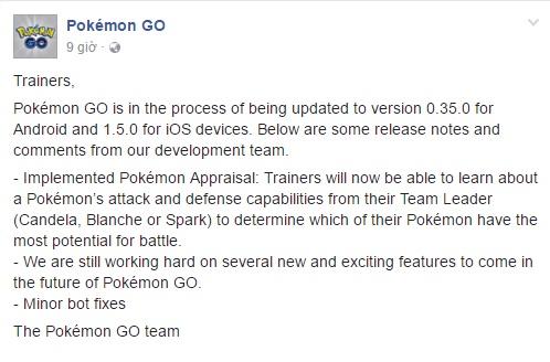 Thông báo về việc cập nhật phiên bản mới của Pokémon GO