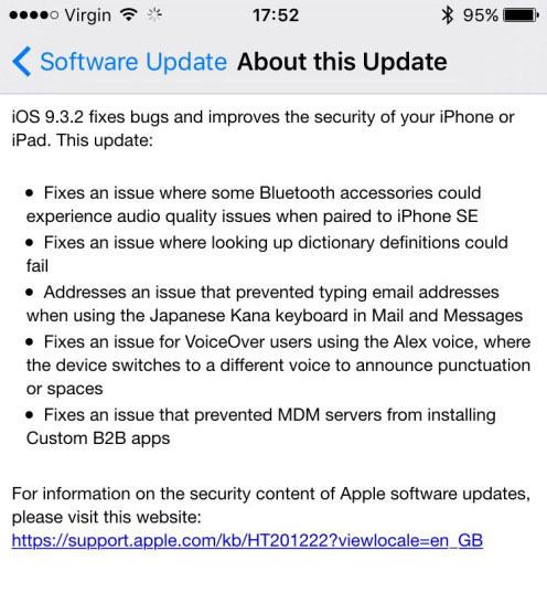 Thông tin chi tiết về bản nâng cấp iOS 9.3.2