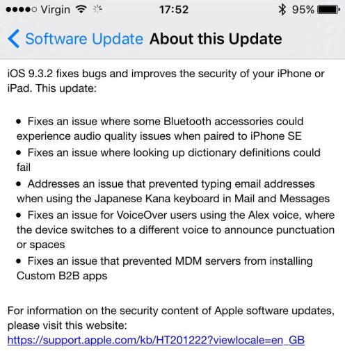 Thông tin về bản cập nhật iOS 9.3.2