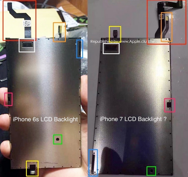 So sánh mặt sau tấm nền màn hình iPhone 6S (trái) và iPhone 7 (phải)