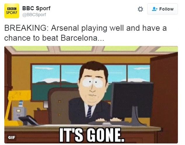 BBC đưa ra tin nóng: Arsenal đang chơi tốt và có cơ hội hạ Barca nhưng... tất cả đã hết rồi!