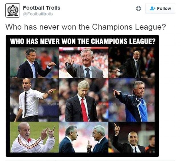 Cách để giễu cợt HLV Wenger cay đắng nhất của fan là đặt ảnh của vị chiến lược gia người Pháo với những HLV đã từng đăng quang ở Champions League.