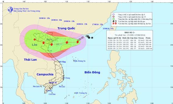 Ap thấp nhiệt đới trên Bắc Biển Đông đã mạnh lên thành cơn bão số 3, đổ bộ vào Quảng Ninh - Nghệ An.