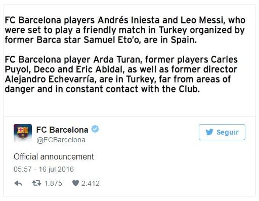 Tài khoản Twitter của CLB Barcelona xác nhận Messi và các cầu thủ khác vẫn an toàn