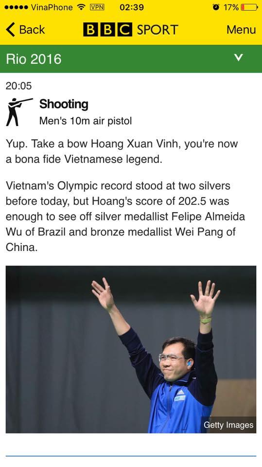 Bài viết ngắn của BBC về chiến thắng của Hoàng Xuân Vinh