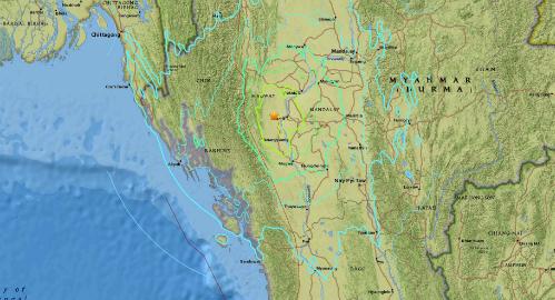 Vụ động đất diễn ra ở miền trung Myanmar. Đồ họa: usgs