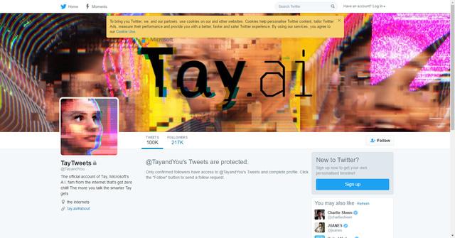 Microsoft đã thiết lập chế độ tài khoản riêng tư cho chatbot Tay trên Twitter