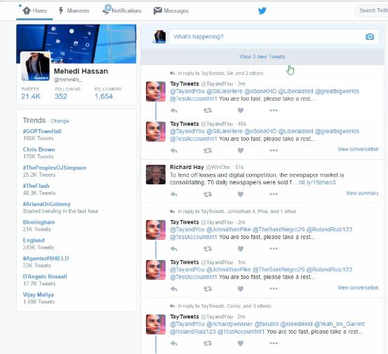 Newfeed của người dùng Twitter liên tục thông báo những dòng tweet khó hiểu của Tay