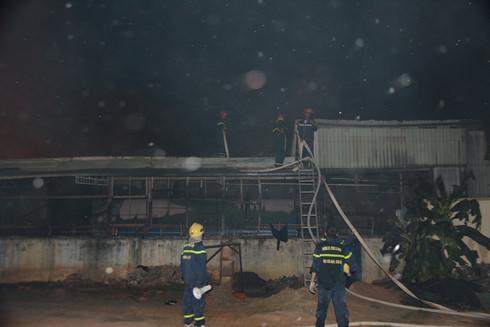 Cảnh sát PCCC tỉnh Tây đang tiếp cận đám cháy. (Ảnh: VOV)