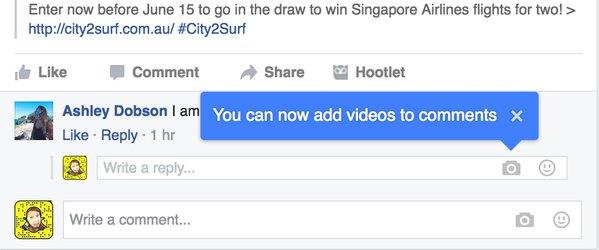 Facebook hiện thông báo cập nhật tính năng chèn video vào lời bình luận
