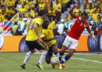 Các trận đấu giữa Colombia và Chile luôn diễn ra rất cân bằng