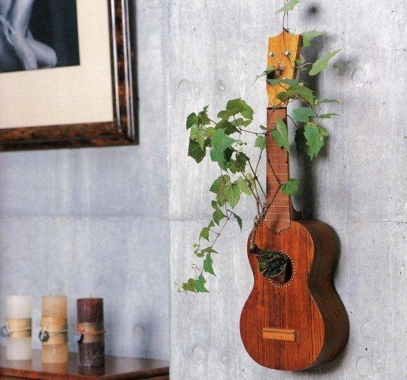Trồng cây leo vào chiếc đàn guitar cũ sẽ biến thành một vật trang trí độc đáo.