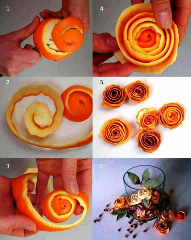 Đơn giản chỉ là những vỏ cam được cuộn lại thành bông hoa và chút khéo léo sắp xếp, bạn đã làm cho góc bàn nhỏ trở nên lãng mạn hơn.