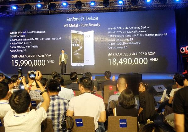 ZenFone 3 Deluxe sẽ có 2 phiên bản với lần lượt các mức giá là 15.990.000 VNĐ và 18.490.000 VNĐ