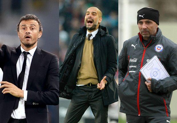 Từ trái sáng: HLV Enrique, Guardiola và Sampaoli