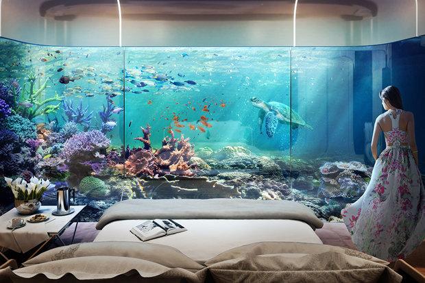 Phòng tắm và phòng ngủ chìm hẳn dưới đại dương.
