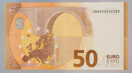 Mặt sau của đồng 50 Euro mới