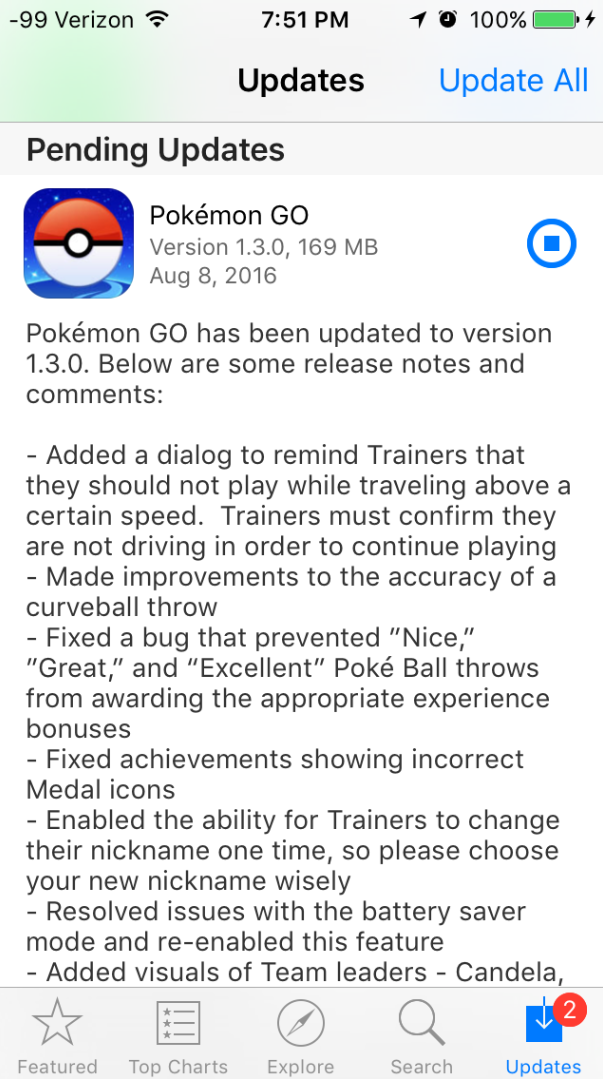 Bản cập nhật Pokémon GO trên iOS có dung lượng lên tới gần 170 MB