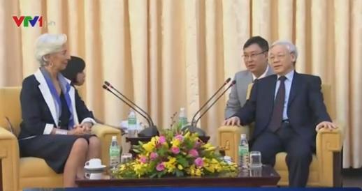 Tổng Bí thư Nguyễn Phú Trọng tiếp bà Christine Lagarde (Ảnh: VTV)
