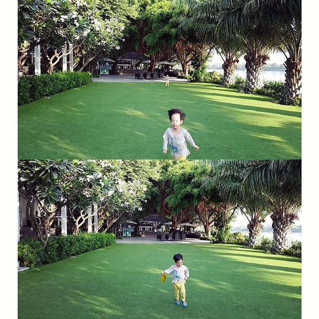 Hai hình ảnh được mẹ Seo Eon và Seo Jun đăng tải