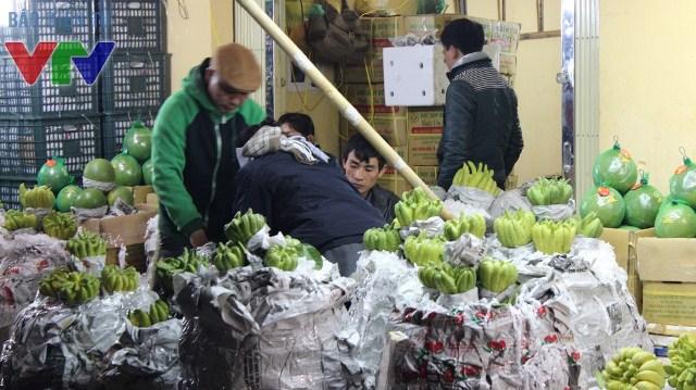 Những quả phật thủ to đẹp được bọc cẩn thận khi được bày tại chợ