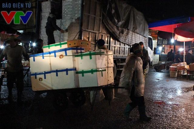 Nửa đêm, những chiếc xe tải lớn nhỏ chở hoa quả tiến vào cổng chợ