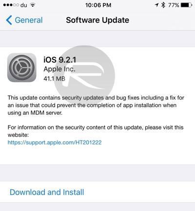 Apple đã phát hành bản cập nhật iOS 9.2.1