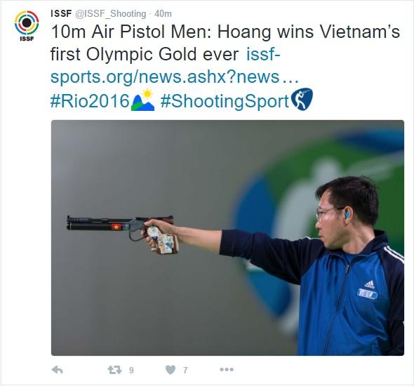Liên đoàn Bắn súng thế giới cũng đưa 1 loạt dòng Tweet chúc mừng Hoàng Xuân Vinh