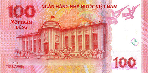 Mặt sau tờ tiền lưu niệm 100 đồng.