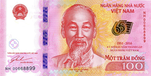 Mặt trước tờ tiền lưu niệm 100 đồng.