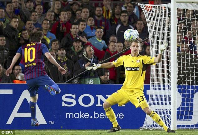 Messi từng ghi 5 bàn trong một trận, đó là lần gặp Leverkusen.