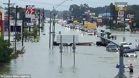 Cả tuyến đường tại bang Louisian bị tê liệt, chìm ngập trong nước. Ảnh: DAILY MAIL)