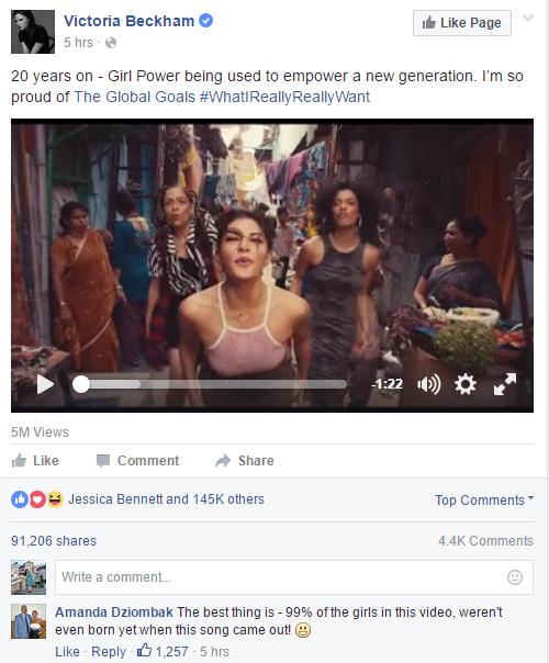 Video đã thu hút 5 triệu lượt xem và hàng trăm nghìn lượt like sau khi được đăng tải trên trang Facebook của Victoria Beckham.